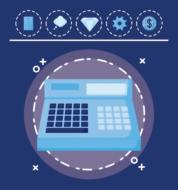 Registrierkasse mit satzikonenwirtschaftsfinanzierung Premium Vektoren