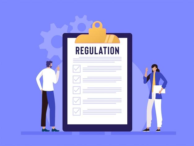 Regulierungskonformitätsregeln gesetz illustrationskonzept, menschen, die regeln mit großer zwischenablage und papier verstehen Premium Vektoren