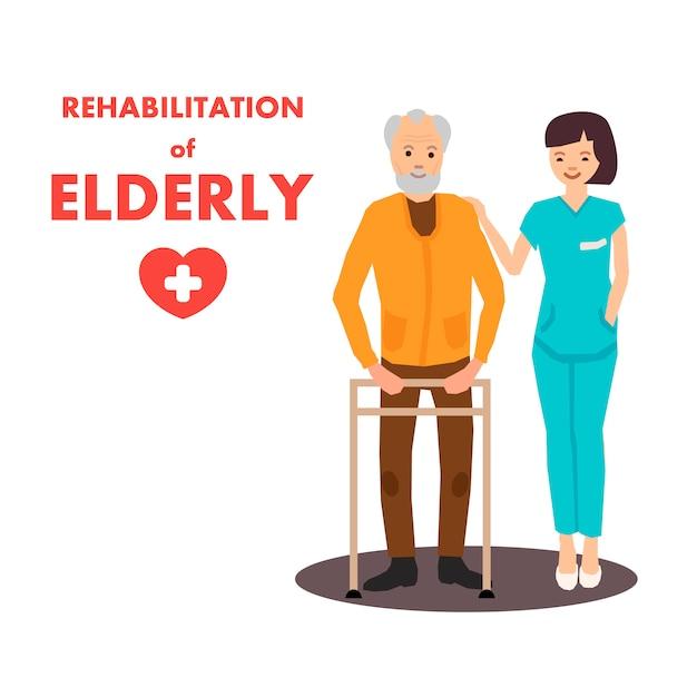 Rehabilitation für ältere menschen im reha-zentrum werbung Premium Vektoren