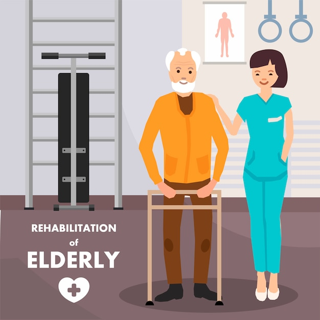 Rehabilitation für ältere menschen werbeplakat Premium Vektoren