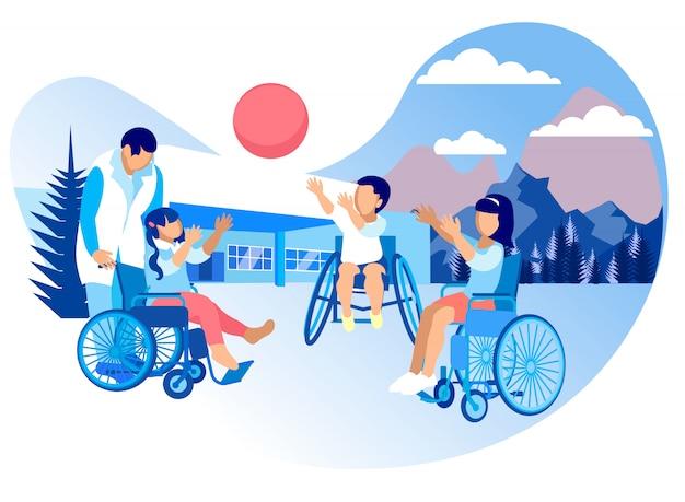 Rehabilitation und anpassung für kinder cartoon Premium Vektoren