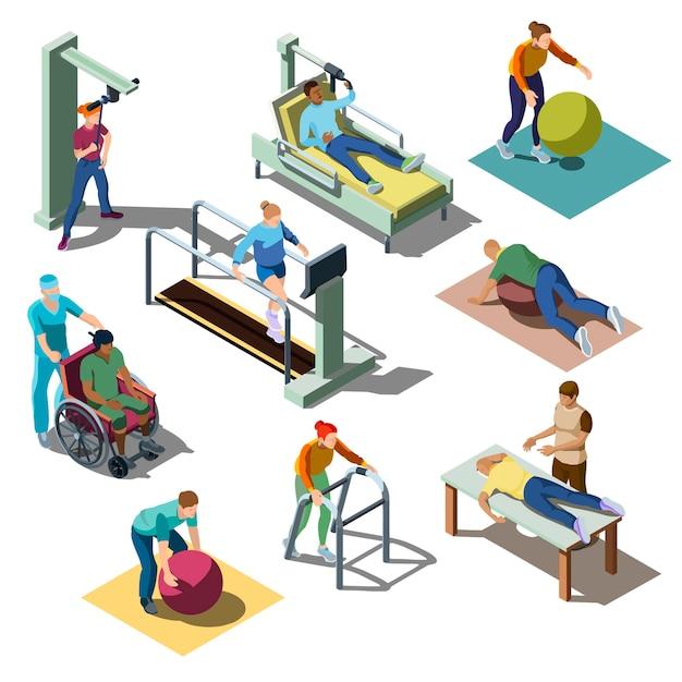 Rehabilitationsmedizinisches zentrum mit charakteren mit erkrankungen des bewegungsapparates im isometrischen stil. Kostenlosen Vektoren