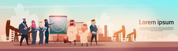 Reiche arabische geschäftsmann-öl-handelspumpjack rig platform black wealth concept Premium Vektoren