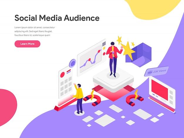 Reichweiten-social media-publikums-illustrations-konzept Premium Vektoren