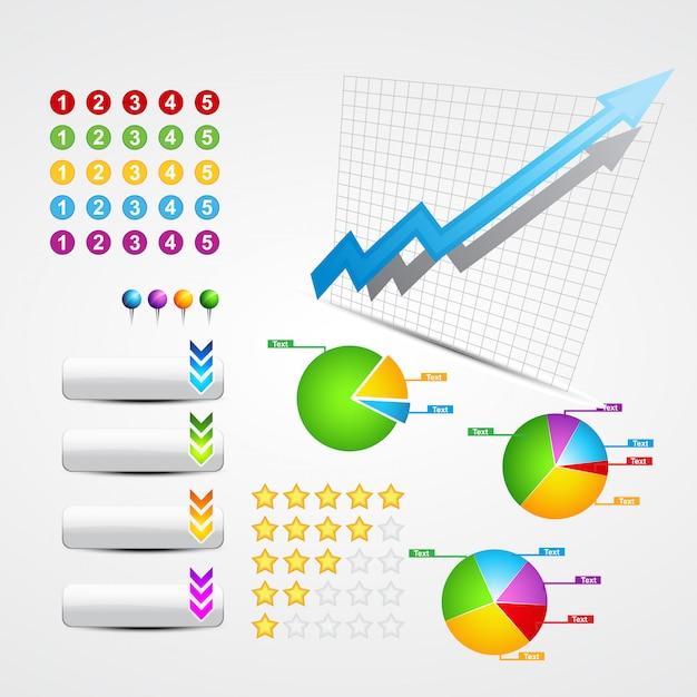 Reihe nützlicher geschäfts- und webelemente Premium Vektoren