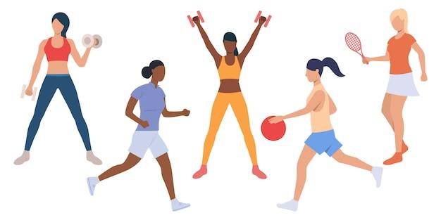 Reihe von aktiven damen beim sporttraining Kostenlosen Vektoren