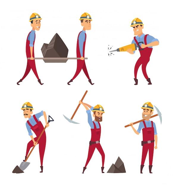 Reihe von arbeitenden menschen. bergleute in verschiedenen aktionshaltungen Premium Vektoren