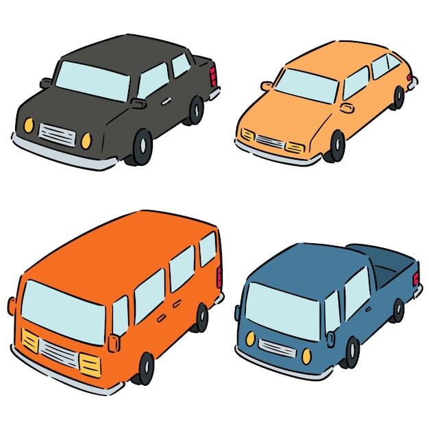 Reihe von autos Premium Vektoren