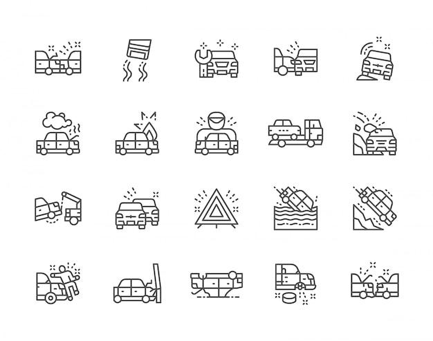 Reihe von autounfällen linie icons. autostation, evakuierung, stau und mehr. Premium Vektoren