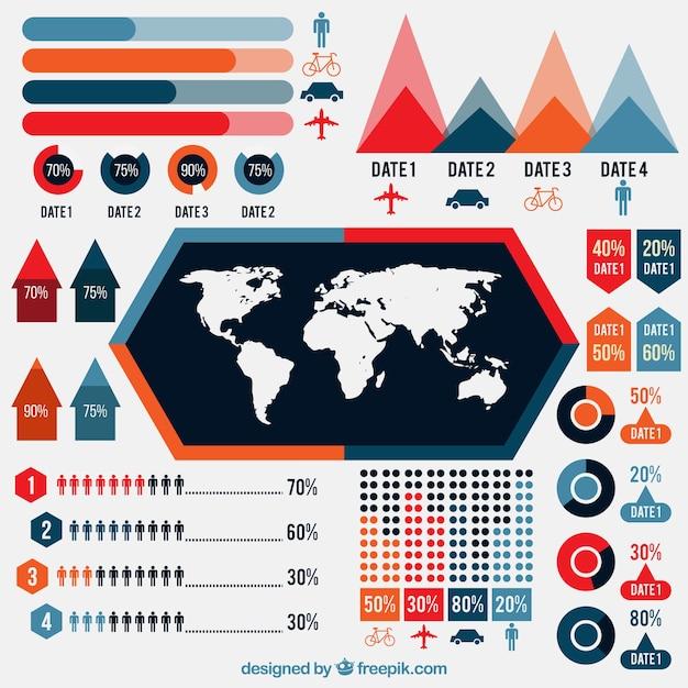 Reihe von bunten Diagramme f  r    die    Reise Infografik