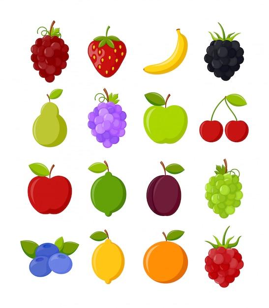 Reihe von bunten früchten Premium Vektoren