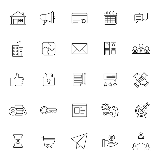 Reihe von business-management-symbol Premium Vektoren