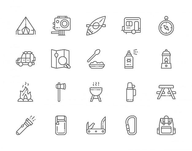 Reihe von camping line icons. bbq, kanu, trailer, gaslampe, lagerfeuer, axt, insektenspray, taschenlampe, wandern und mehr. Premium Vektoren