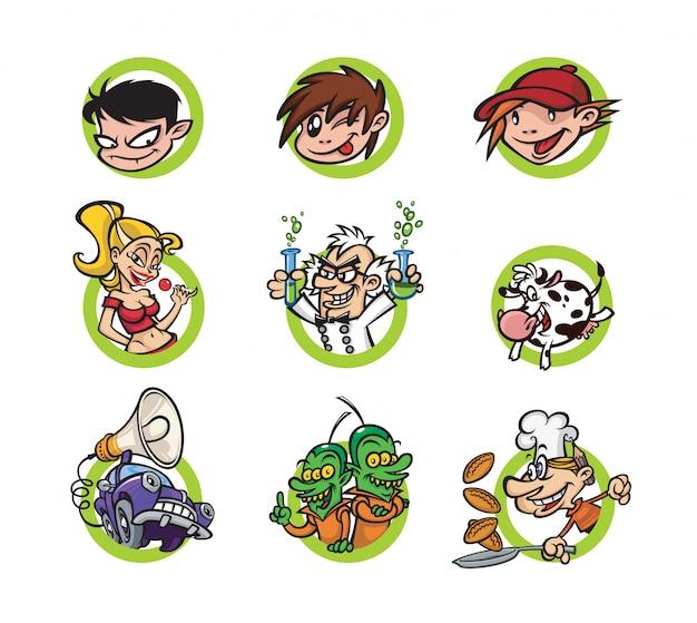 Reihe von comic-figuren Premium Vektoren
