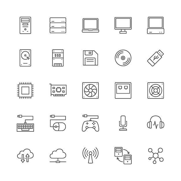 Reihe von computer-komponenten-linie icons. systemeinheit, konsole, server und mehr. Premium Vektoren