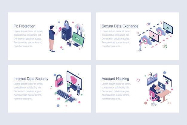 Reihe von cyber-security-illustrationen Premium Vektoren