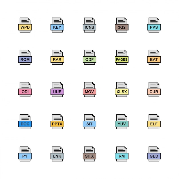 Reihe von dateiformaten icons Premium Vektoren