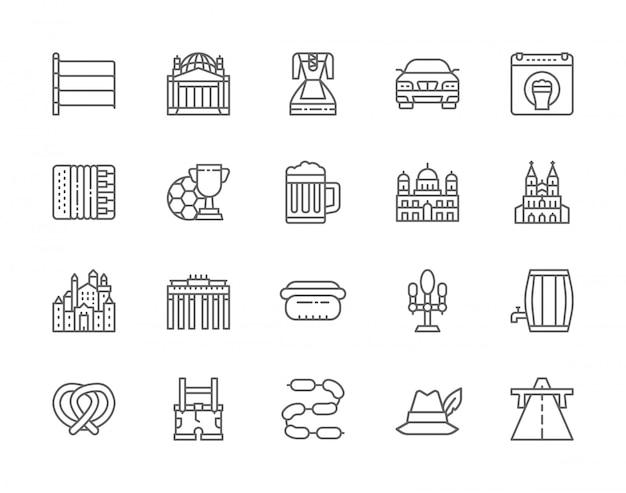 Reihe von deutschen kultur linie icons. Premium Vektoren