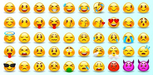 Reihe von emoticons. set von emoji. isoliert. Premium Vektoren