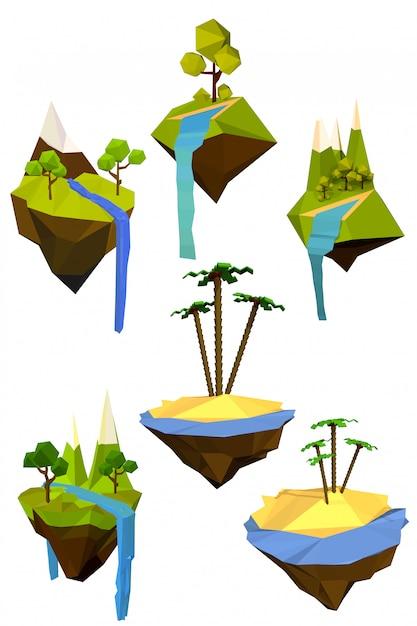Reihe von farbigen fliegenden inseln mit bäumen, bergen und wasserfällen. Premium Vektoren