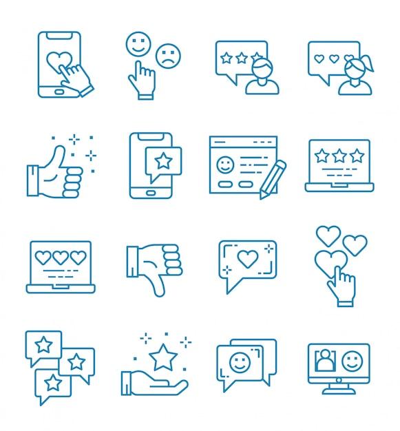 Reihe von feedback-icons mit umriss-stil Premium Vektoren