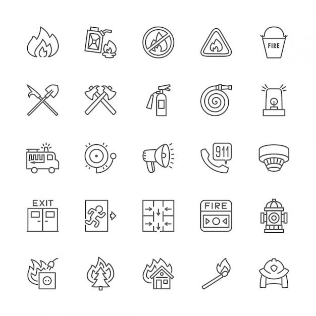Reihe von feuerwehrmann linie icons. feuerwehrmann, evakuierungsplan, hydrant und mehr. Premium Vektoren