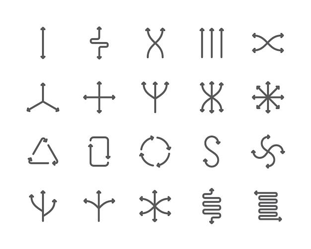 Reihe von flexibilität liniensymbole. verschiedene richtungen, zurücksetzen, pfeile und mehr. Premium Vektoren
