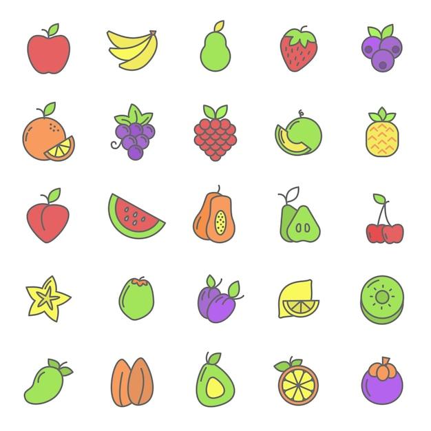Reihe von früchten pflanzenikone Premium Vektoren