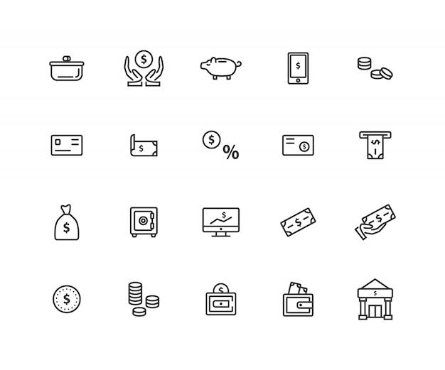 Reihe von geld verwandte linie icons Premium Vektoren