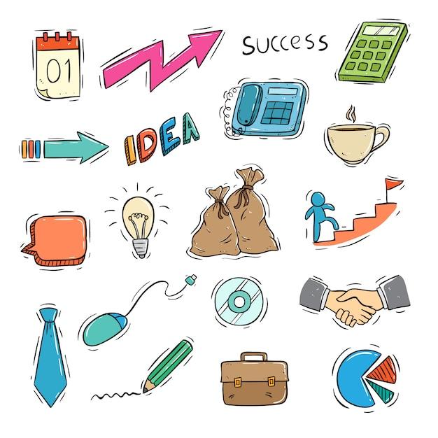 Reihe von geschäfts-ikonen mit farbigen doodle-stil Premium Vektoren