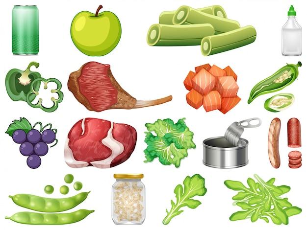 Reihe von gesunden lebensmitteln Premium Vektoren