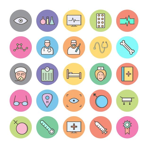 Reihe von icons mit medizinischen thema Premium Vektoren