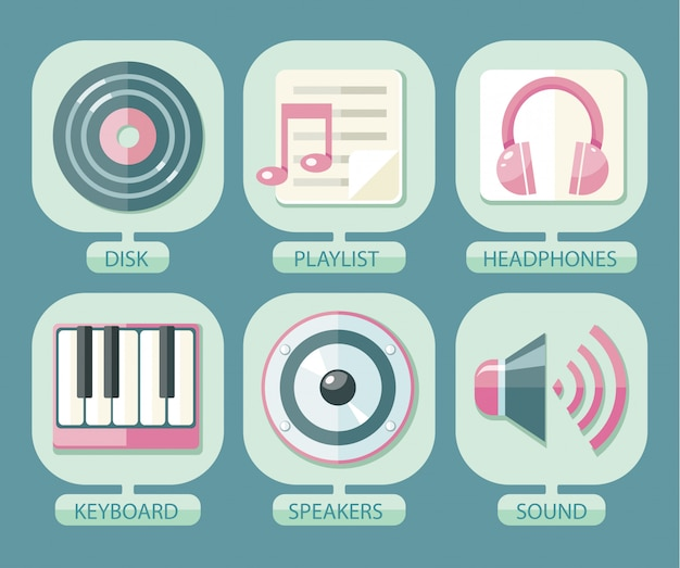 Reihe von icons musik für app Premium Vektoren
