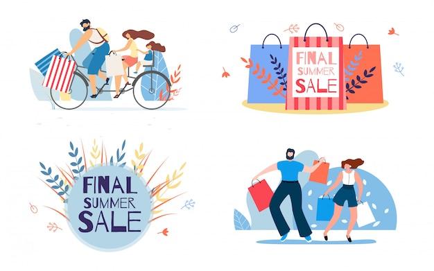 Reihe von illustrationen für final summer sale schriftzug und zeichen einkaufen Premium Vektoren