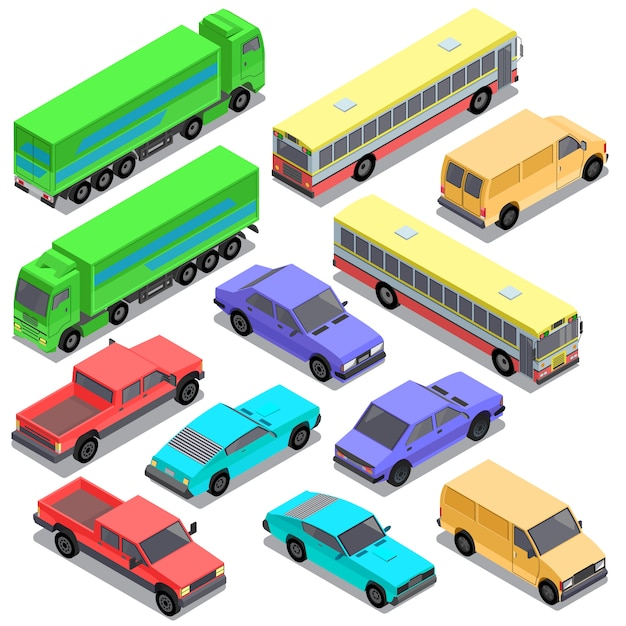 Reihe von isometrischen städtischen verkehr, autos Kostenlosen Vektoren