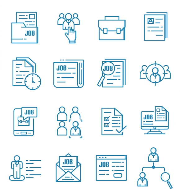 Reihe von jobs icons mit umriss-stil Premium Vektoren