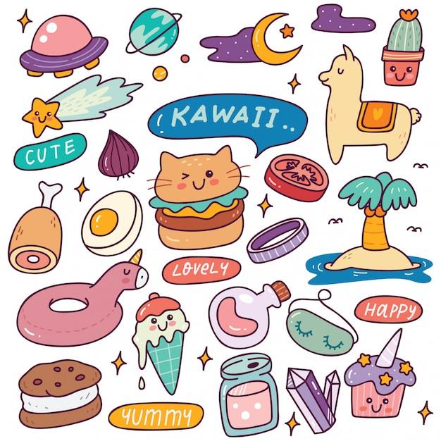 Reihe von kawaii icons Premium Vektoren