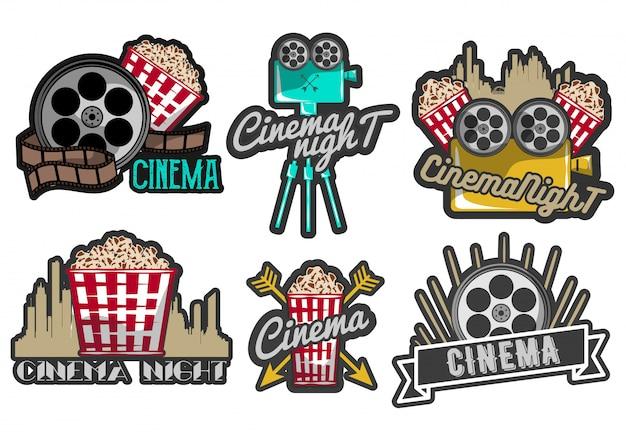 Reihe von kino-labels und logos Premium Vektoren