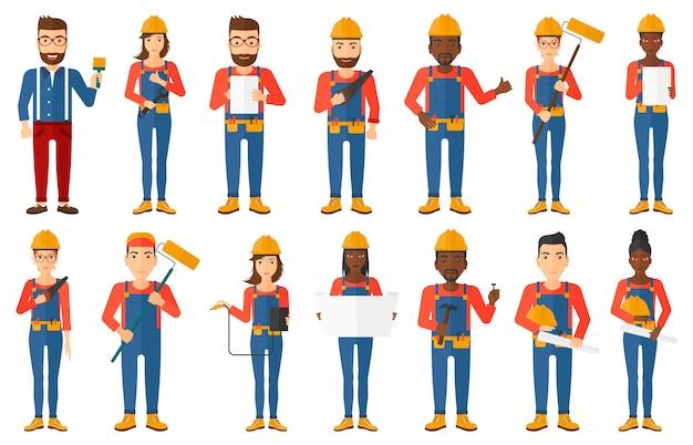 Reihe von konstruktoren und bauherren zeichen Premium Vektoren