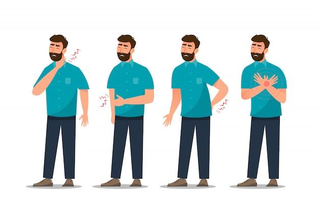 Reihe von kranken mann bauchschmerzen, herzerkrankungen, rückenschmerzen, nackenschmerzen, husten und gastritis Premium Vektoren