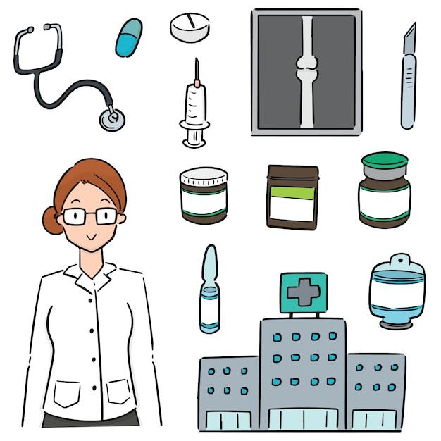 Reihe von krankenhaus, krankenhausausstattung und medizinischem personal Premium Vektoren