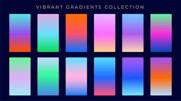 Reihe von lebendigen bunten farbverläufen Kostenlosen Vektoren