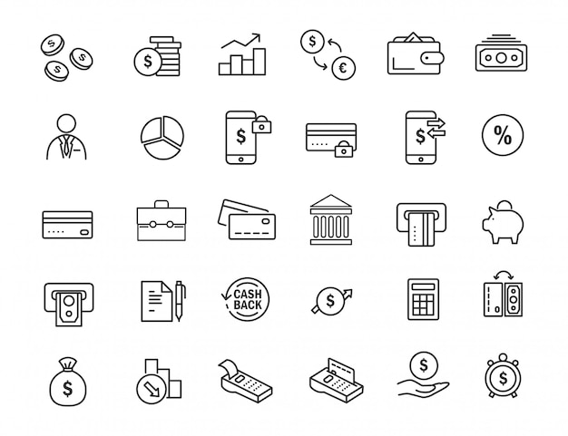 Reihe von linearen banking icons. finanzikonen im übersichtlichen design. Premium Vektoren