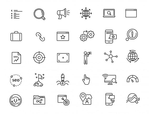 Reihe von linearen seo icons Premium Vektoren