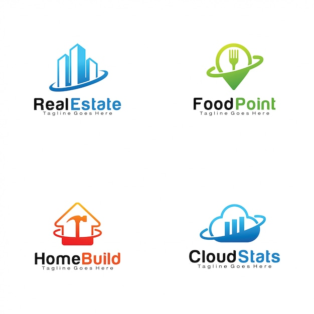 Reihe von logos Premium Vektoren