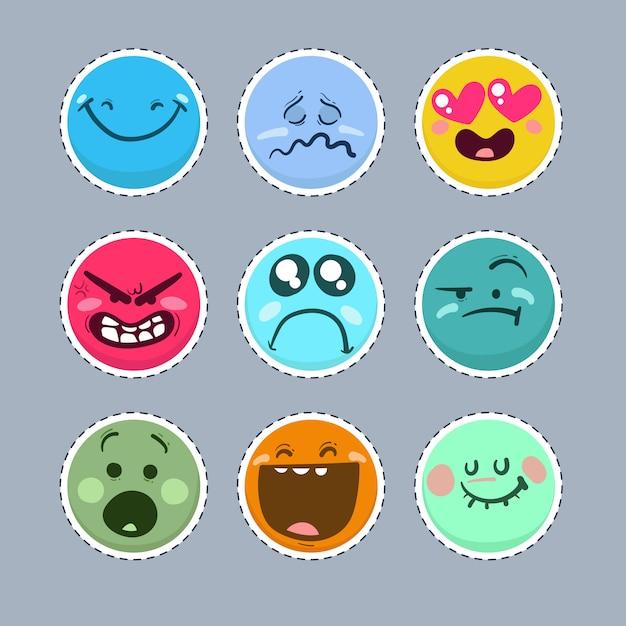 Reihe von lustigen emoticons. Premium Vektoren
