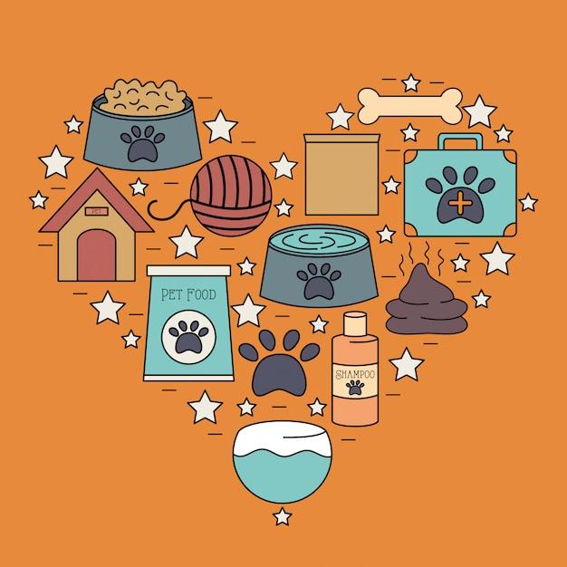 Reihe von maskottchen pflege shop icons Kostenlosen Vektoren