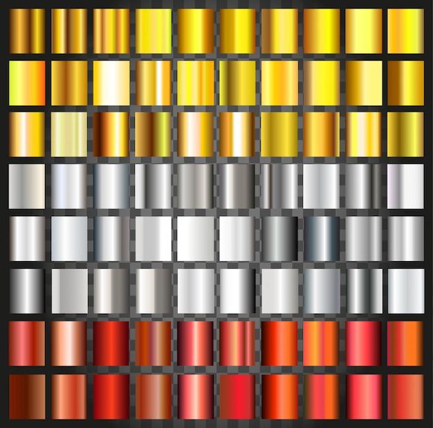 Reihe von metallischen farbverläufen Premium Vektoren