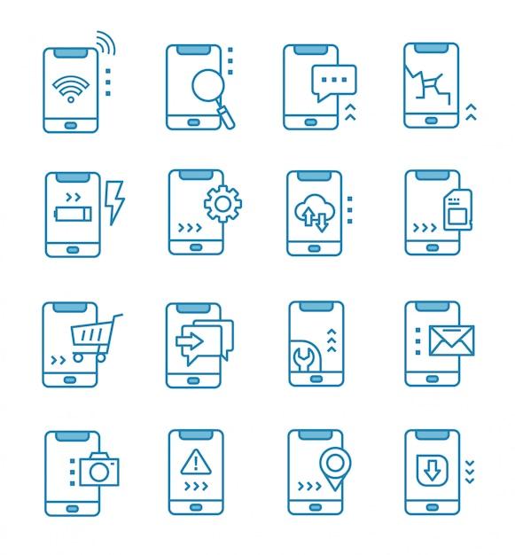 Reihe von mobilen icons mit umriss-stil Premium Vektoren