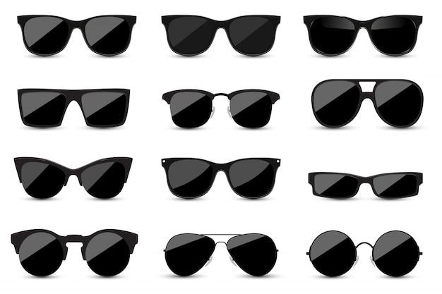 Reihe von modischen schwarzen sonnenbrillen auf weißem hintergrund Premium Vektoren